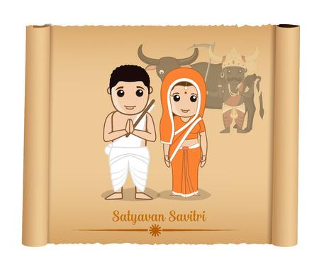 religious clothing: Satyavan Savitri - Cartoon Characters