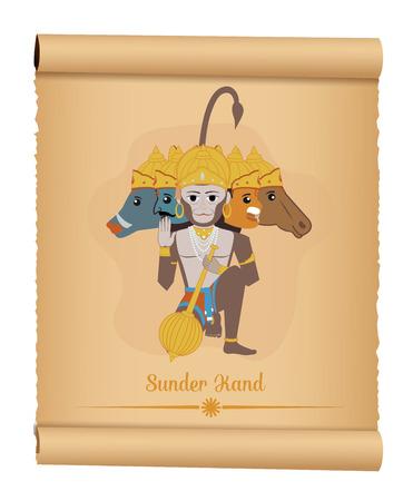 ramayan: Panchmukhi Hanuman - Hindu God - Sunder Kand Illustration
