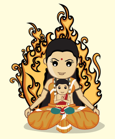 mythological character: Holika with Bhakt Prahlad - Hindu Mythological Character Illustration