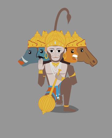 indian god: Panchmukhi Hanuman - Indian God of Power
