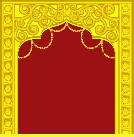 indian wedding: Golden Mythological  Royal Frame Illustration