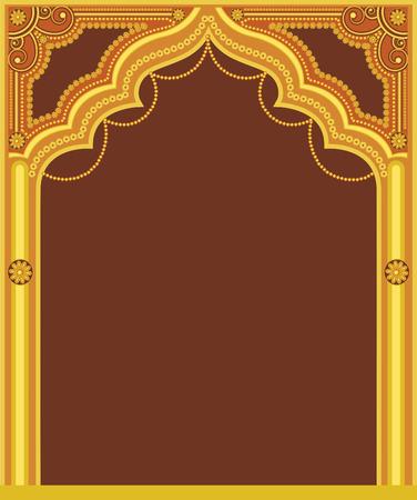 castle door: Golden Royal Frame Design Illustration