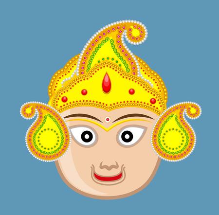 hindu temple: Hindu Gods Face with Golden Crown