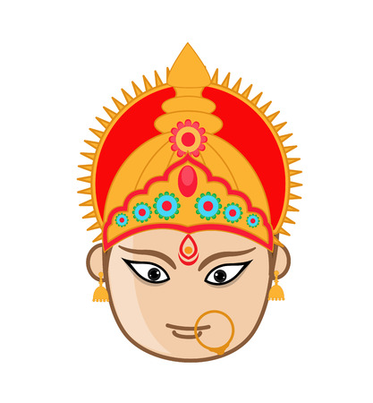 mythological character: Durga Mata Face - Hindu Mythological Character Illustration