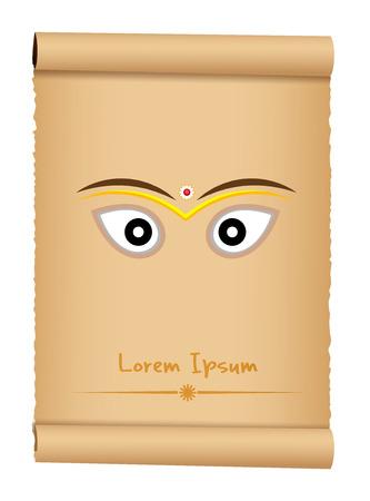 hindu temple: Durga Ashtami Greeting Banner