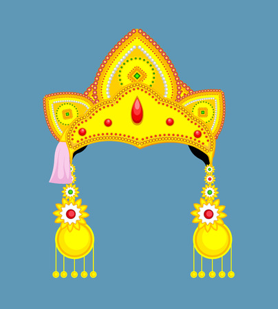 mythological character: Golden Hindu Ornament and Crown for Mythological Character