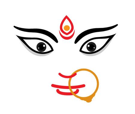 hindu goddess: Maa Durga Face Expression - Mythological Hindu Goddess Illustration