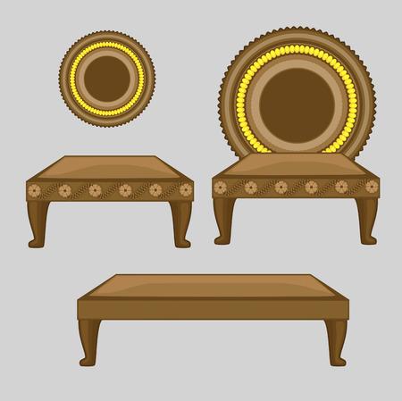 mythological: Wooden Retro Throne Mythological Object Illustration