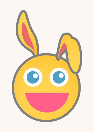 cuteness: Bunny - Cartoon Smiley Vector Face Illustration