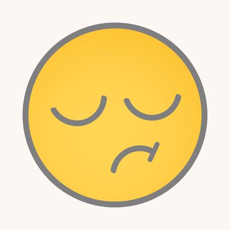 tiredness: Displeasure - Cartoon Smiley Vector Face