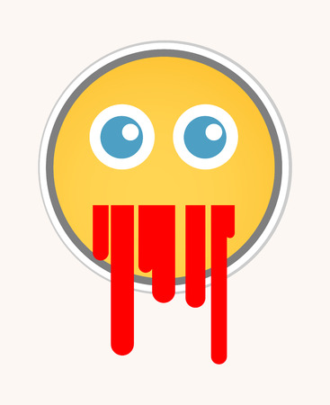 vomito: V�mitos de sangre - Cara sonriente de la historieta del vector
