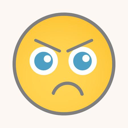 Angry - Cartoon Face Smiley Vector Vettoriali