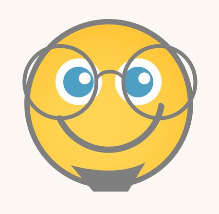 cara sonriente: Interesado - Cara de dibujos animados sonriente del vector