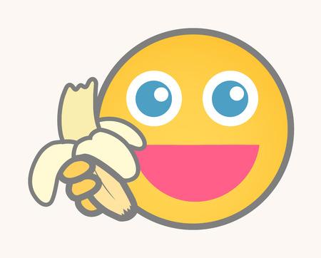 banaan cartoon: Eat Banana - Cartoon Smiley Vector Gezicht