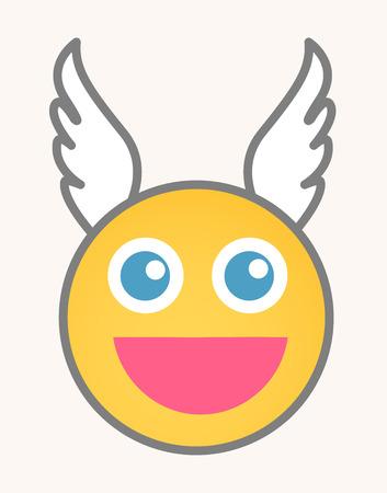 caritas felices: Cara del smiley de la historieta del vector - Cupido