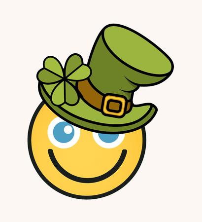 clover face: Happy Leprechaun - Cartoon Smiley Vector Face
