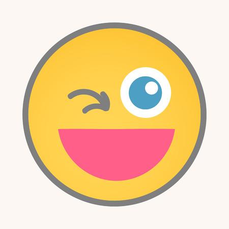 wink: Wink - Cartoon Smiley Vector Face Illustration