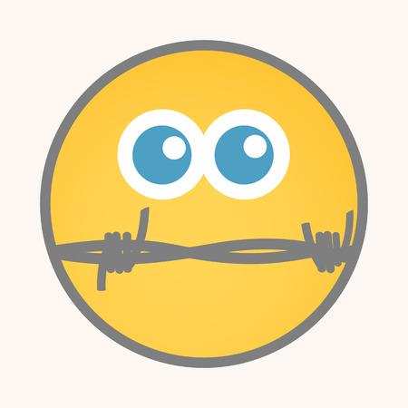 silent: Silent - Cartoon Smiley Vector Face Illustration