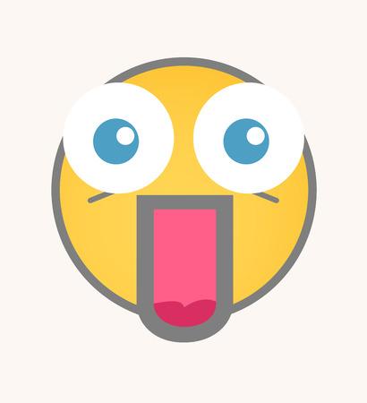 sorprendido: Sorprendido - Cara de dibujos animados sonriente del vector