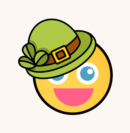17th of march: Cute Leprechaun - Cartoon Smiley Vector Face Illustration