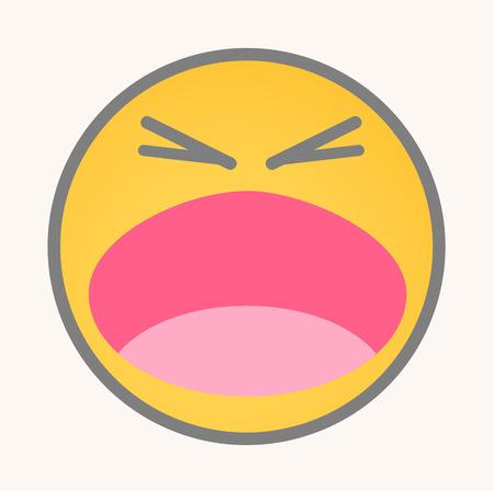 screaming: Screaming - Cartoon Smiley Vector Face Illustration