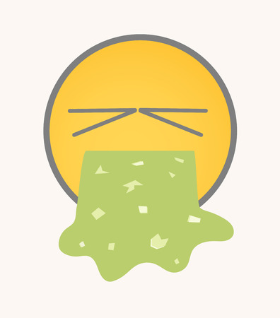 vomiting: Vomiting - Cartoon Smiley Vector Face