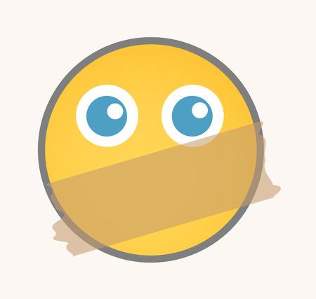 quiet: Quiet - Cartoon Smiley Vector Face Illustration