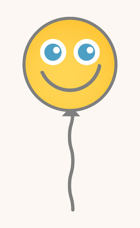 smiley face cartoon: Balloon - Cartoon Smiley Vector Face Illustration