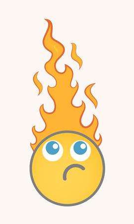 jealousy: Burning - Cartoon Smiley Vector Face Illustration