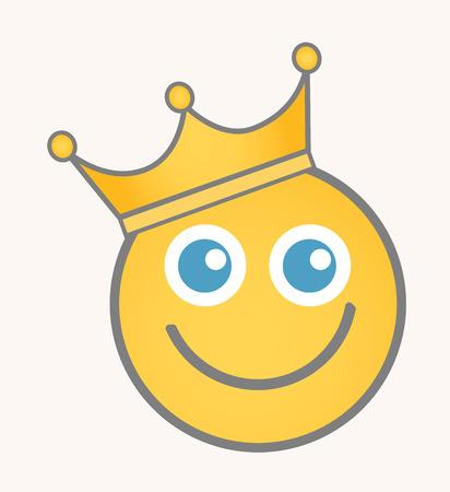 smiley: King - Cartoon Smiley Vector Face Illustration