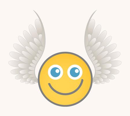 alas de angel: Cupido feliz - cara sonriente de la historieta del vector Vectores