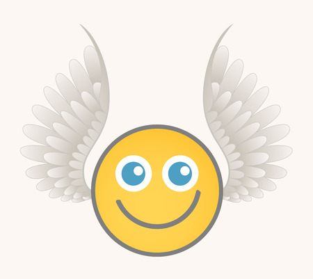 wings angel: Happy Cupid - Cartoon Smiley Vector Face