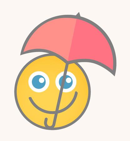 cara sonriente: Feliz Raining - Cara de dibujos animados sonriente del vector