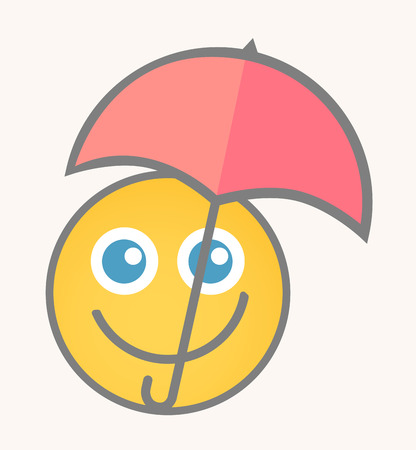 smiley face cartoon: Happy Raining - Cartoon Smiley Vector Face