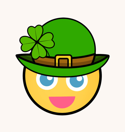 clover face: Patricks Day Leprechaun - Cartoon Smiley Vector Face