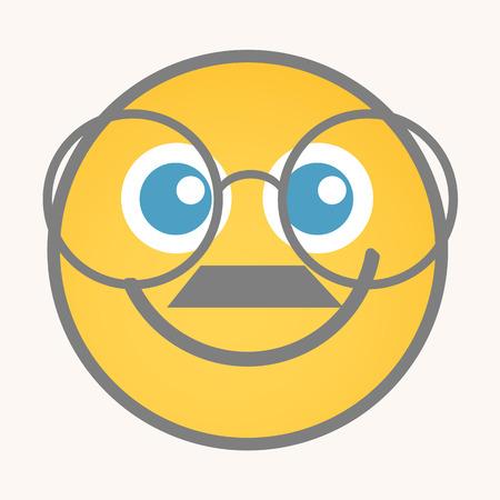 bookworm: Bookworm - Cartoon Smiley Vector Face Illustration