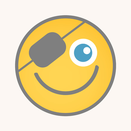 eye patch: Eye Patch - Cartoon Smiley Vector Face