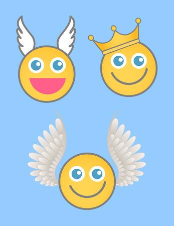 rey caricatura: �ngel, Cupido y el Rey Smiley vectorial