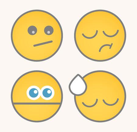 feeling exhausted: Upset Cartoon Smiley Set Illustration