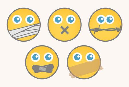 mute: Mute - Cartoon Smiley Set
