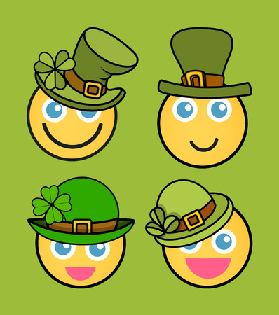 smiley: Patricks Day Leprechaun Smiley Vector Set Illustration