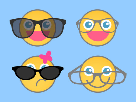 smiley: Goggles Fashion - Cartoon Smiley Set Illustration