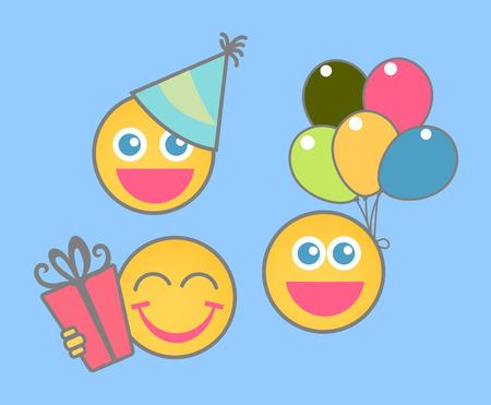celebration party: Party Celebration - Cartoon Smiley Set
