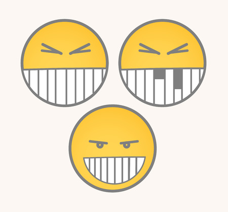 irritate: Clever Smile - Cartoon Smiley Vector Set Illustration