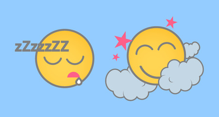 Sleeping Cartoon Smiley Set Illustration