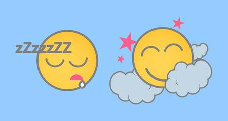 wake up happy: Sleeping Cartoon Smiley Set Illustration