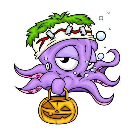 jack'o'lantern: Lazy Halloween Octopus Holding Jack-O-Lantern