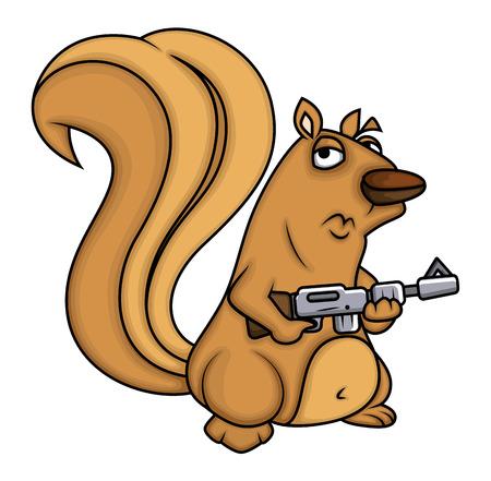 Cartoon Squirrel with Gun Illustration