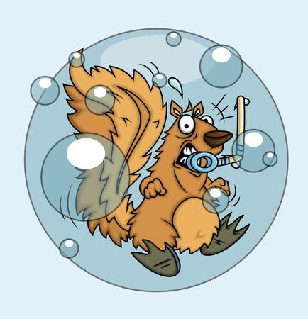 megrémült: Scared Squirrel Stucked in Bubble