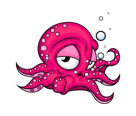 tired cartoon: Tired Cartoon Octopus